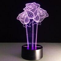 Cambio de Color Rosa Acrílico 3D Luz LLEVÓ Viviendo Lámpara de Mesa USB Micro Luz del estado de Ánimo Para Dormitorio de noche Amante de San Valentín de Regalo