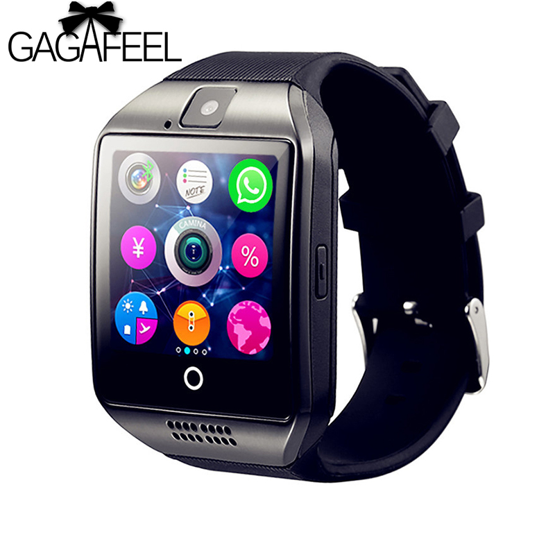 Gagafeel Bluetooth Smart Watch Men Q18 With Touch Screen Big Battery Support TF Sim Card Camera for Android Phone Passometer