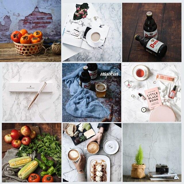 Doble cara diferentes estilos madera cemento textura mármol fotografía telón de fondo papel estudio Prop para alimentos cosméticos Mini artículo