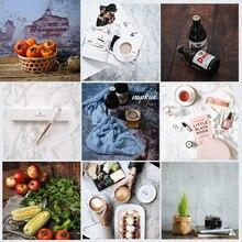 Doble cara diferentes estilos de madera de cemento textura de mármol fotografía fondo de papel de estudio Prop para alimentos cosméticos Mini artículo