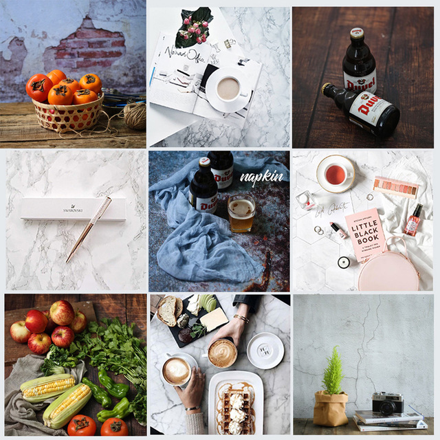 Double-sided Different Styles Woodgrain Cement Marble Texture Photography Backdrop Paper Studio Prop for Food Cosmetic Mini Item