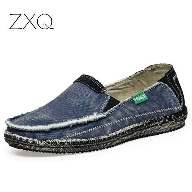 Precio Bajo nueva llegada Hombres Transpirable de Alta Calidad Zapatos Casual Jeans Lienzo Zapatos Casuales Pisos Mocasines Slip On hombres Moda