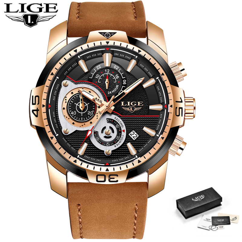 2018 LIGE New Mens Watches Leather Automatic Date Quartz Watch Mens Top Brand Sports Waterproof Male Gift Table Relogio Masculin2018 LIGE New Mens Watches Leather Automatic Date Quartz Watch Mens Top Brand Sports Waterproof Male Gift Table Relogio Masculin