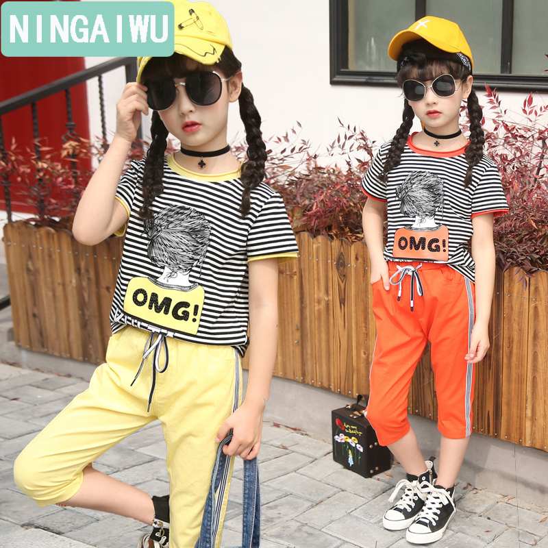 Girls fashion suits summer baby sets 2017 children new cartoon short sleeve T-shirt 7 minutes of pants kids  two-piece style kids girls summer 2014 new o neck short sleeve floral sports suits fashion print cartoon clothing sets t shirts and pants h2691