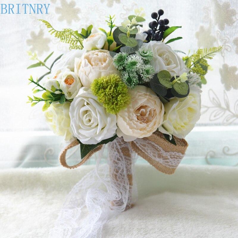 BRITNRY Country Style Romantic Wedding Bouquet Handmade Rose Flower Bouquet Lace Bride Bouquet