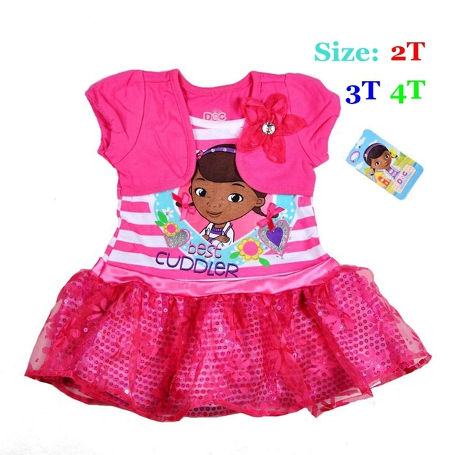 Nuevo 2015 Hot Pink Doc Mcstuffins Baby Girls Vestido de Encaje Paillette Vestidos De Menina Verano Del Niño de La Muchacha Ropa de Los Niños desgaste