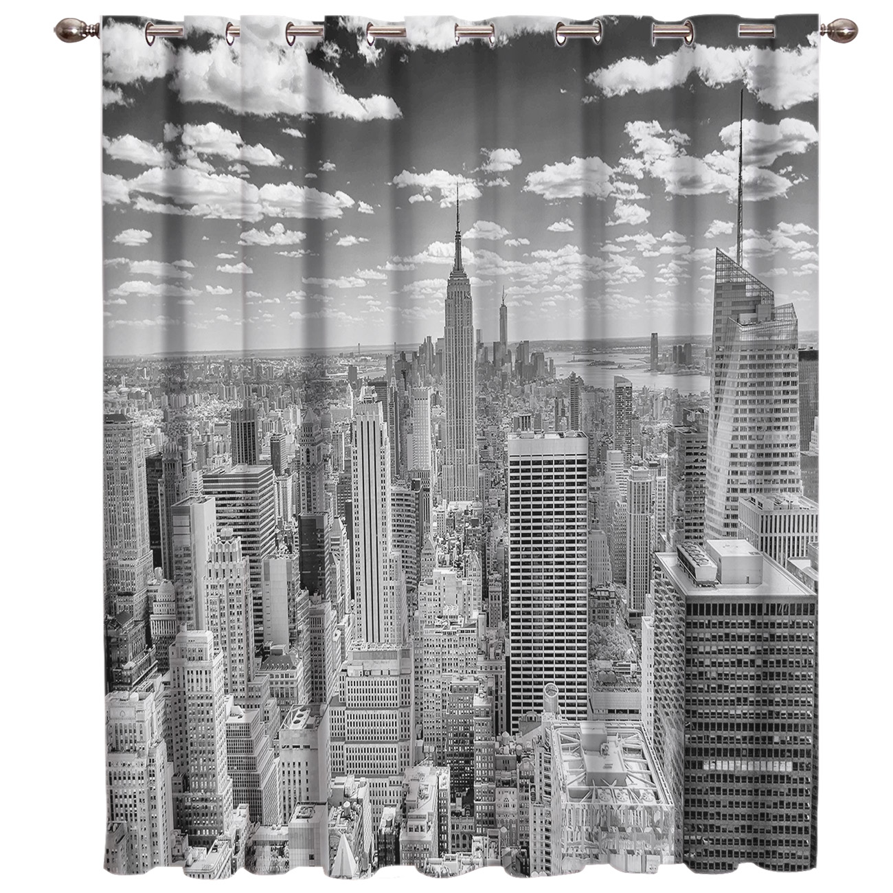 Grey New York City Room Curtains Large Window Window Curtains Dark Window Blinds Living Room Blackout Floral Decor Kids Window