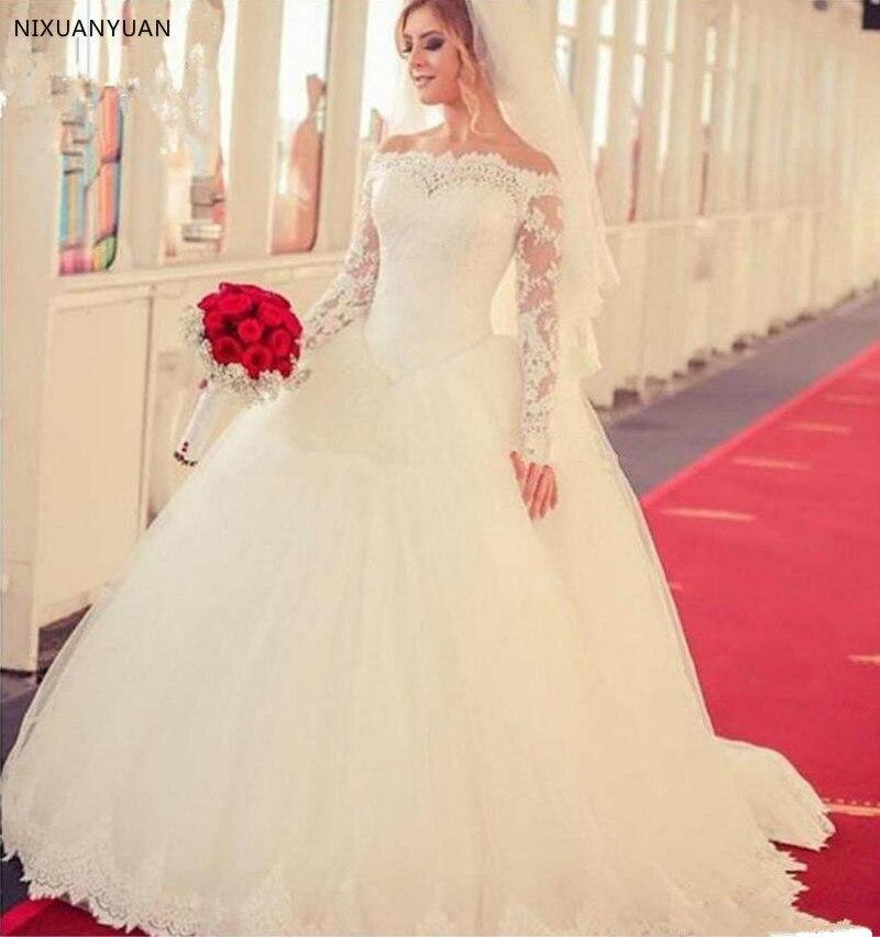 Модные кружевные Длинные бальные платья с открытыми плечами, свадебные платья с рукавами, многослойная юбка, Длинные свадебные платья