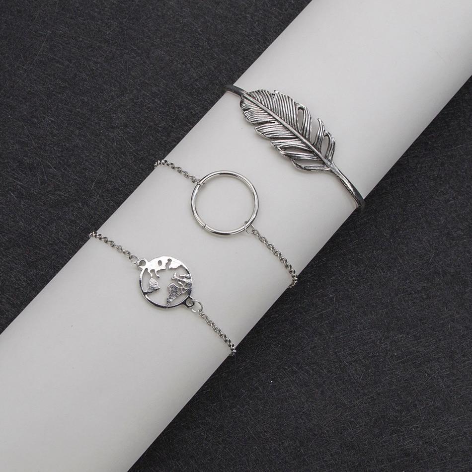 3 Pcs set Retro Bracelets Hollow Leaves flowers Hollow simple Adjustable chain Bracelet Women Party Wedding Accessories in Charm Bracelets from Jewelry Accessories