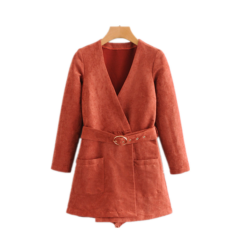 Women Faux Suede Cross V Neck Wrap   Jumpsuits   Belted Long Sleeve Side Zipper Playsuit Female Casual Rompers Overall High Quality