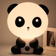 Panda/cão/urso dos desenhos animados luz da noite crianças cama lâmpada noite dormir lâmpada para crianças quarto luz ue/eua plug