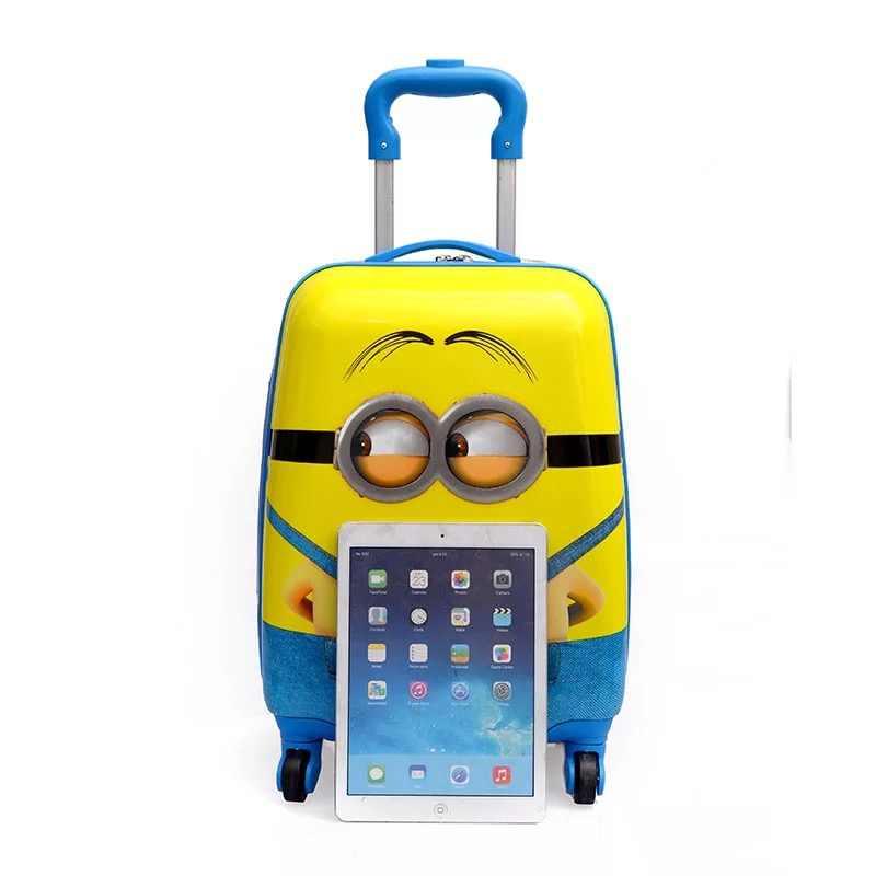 """16 """"18"""" carry-on Mala Crianças Crianças dos desenhos animados Trolley de Viagem Mala com rodas para meninas sacos de bagagem de Rolamento caso Puxar Caixa Haste"""