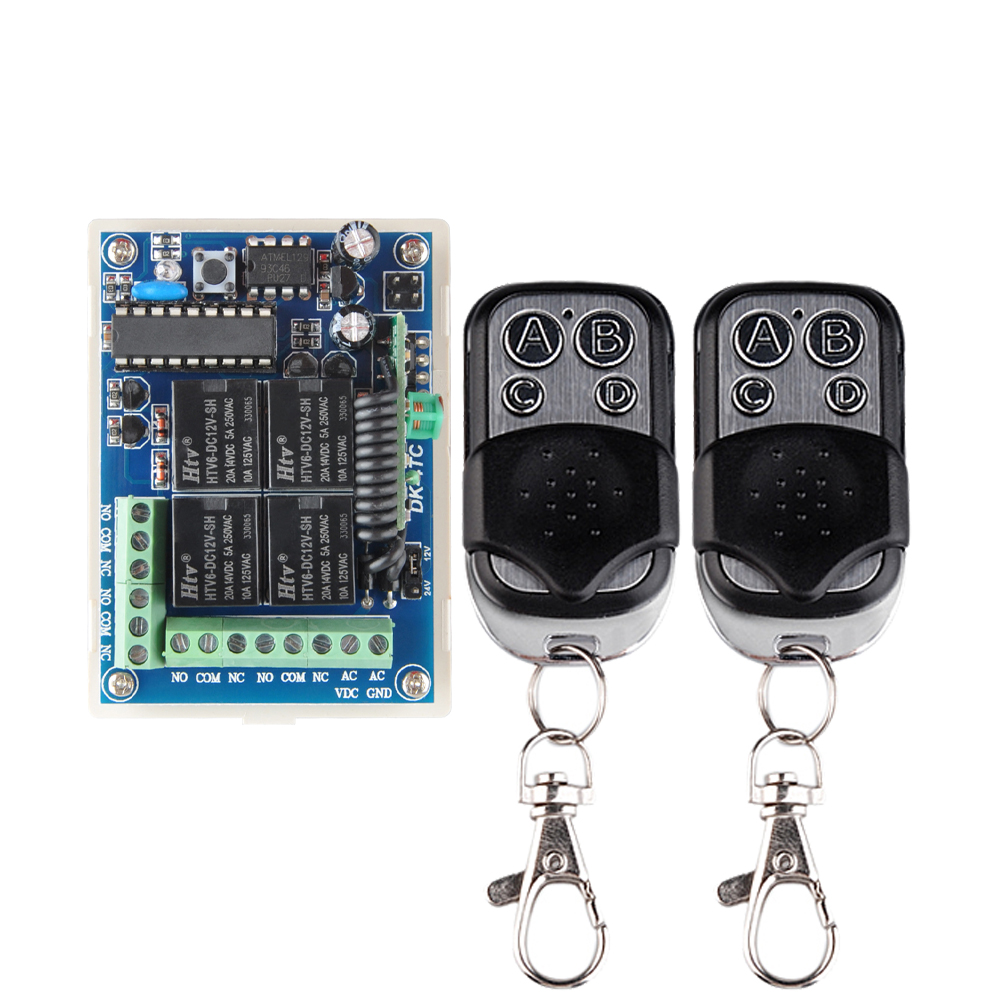 DC 12V 24V 4 CH Wireless Remote Control Light Switch System Metal Push Transmitter 10A Relay Receiver In 433.92Mhz цена