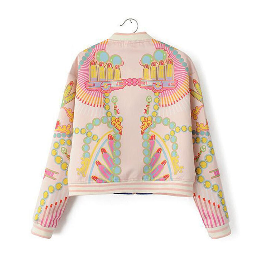 f68e504a6 US $28.19 |2016 women winter spring fashion stand baseball jacket flower  print women coat colorful bomber jacket-in Basic Jackets from Women's ...