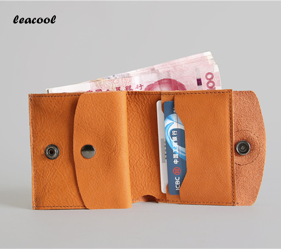 Vintage Genuine Leather Men Wallet Short Coin Purse Small Oil Tanned Leather Wallets Zipper Men Cow Leather Brand Male Wallet 2017 new wallet small coin purse short men wallets genuine leather men purse wallet brand purse vintage men leather wallet