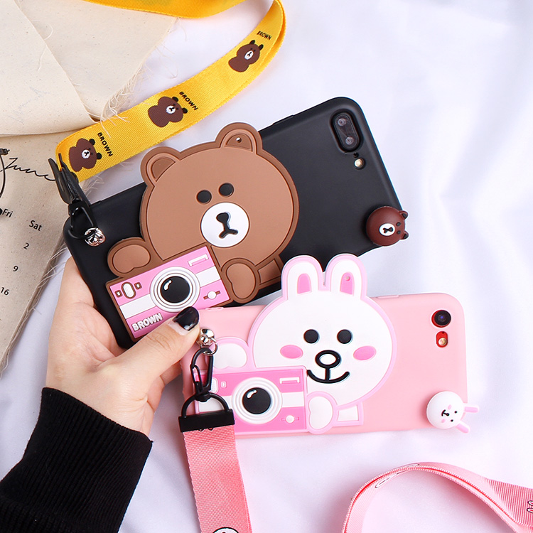 Oneplus 5T Cartoon Case, Cute Bear / Rabbit Cony Soft back phone cover For OnePlus5T /oneplus 5 / oneplus 3 3T phone case +strap