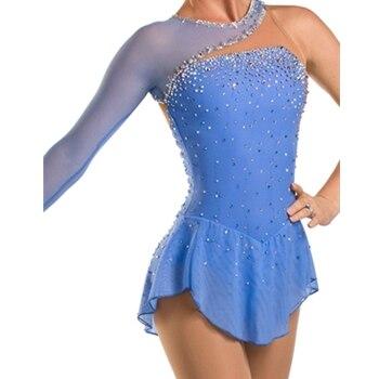 gaiši zila slidošanas kleita pēc pasūtījuma daiļslidošanas - Jaunums