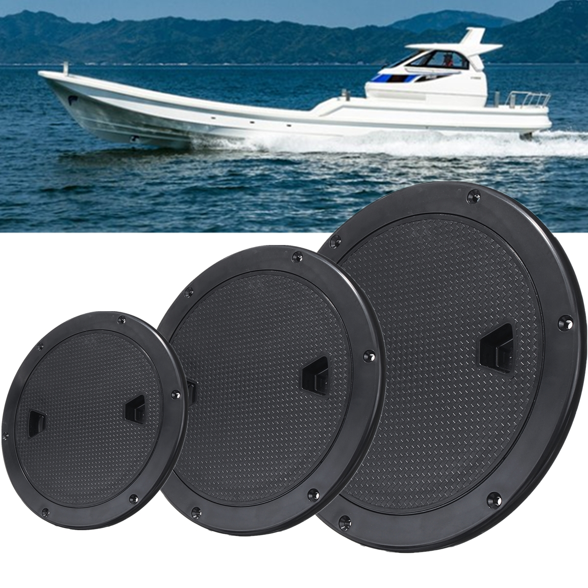 Plastic Twist Out Marine <font><b>Boat</b></font> Caravan Deck Compartment Access <font><b>Hatch</b></font> Plate <font><b>Black</b></font> 4/6/8 inch ABS Anti-ultraviolet Reinforced Lid image
