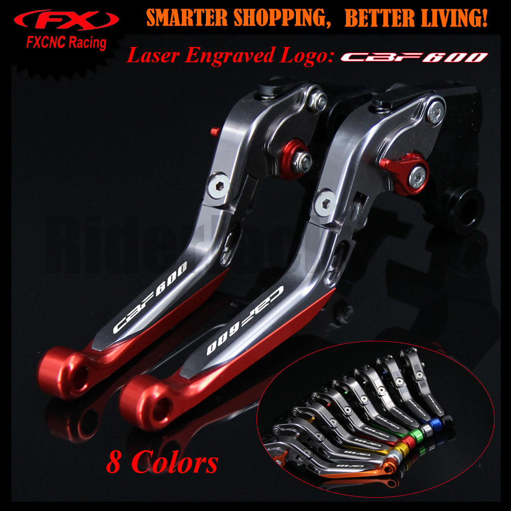 With Logo Red+Titanium For Honda CBF600/SA CBF 600 2010-2013 2011 2012 Adjustable Extendable Motorcycle CNC Brake Clutch Levers adjustable long folding clutch brake levers for kawasaki z1000 07 08 09 10 11 12 13 14 15 z1000sx tourer 2012 2013 2014 2015