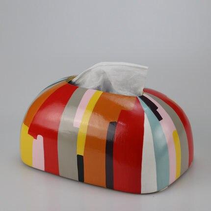 Скандинавская креативная ручная роспись коробка из керамической ткани персонализированное украшение для дома журнальный столик гостиная столовая хранение салфеток - Цвет: B