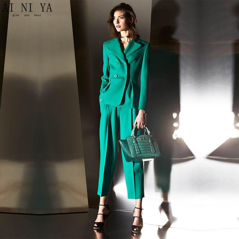 Turquoise Women Business Suits 2 Piece Formal Professional Elegant Pantsuits Office Uniform Style Ladies Office Work Wear Suits