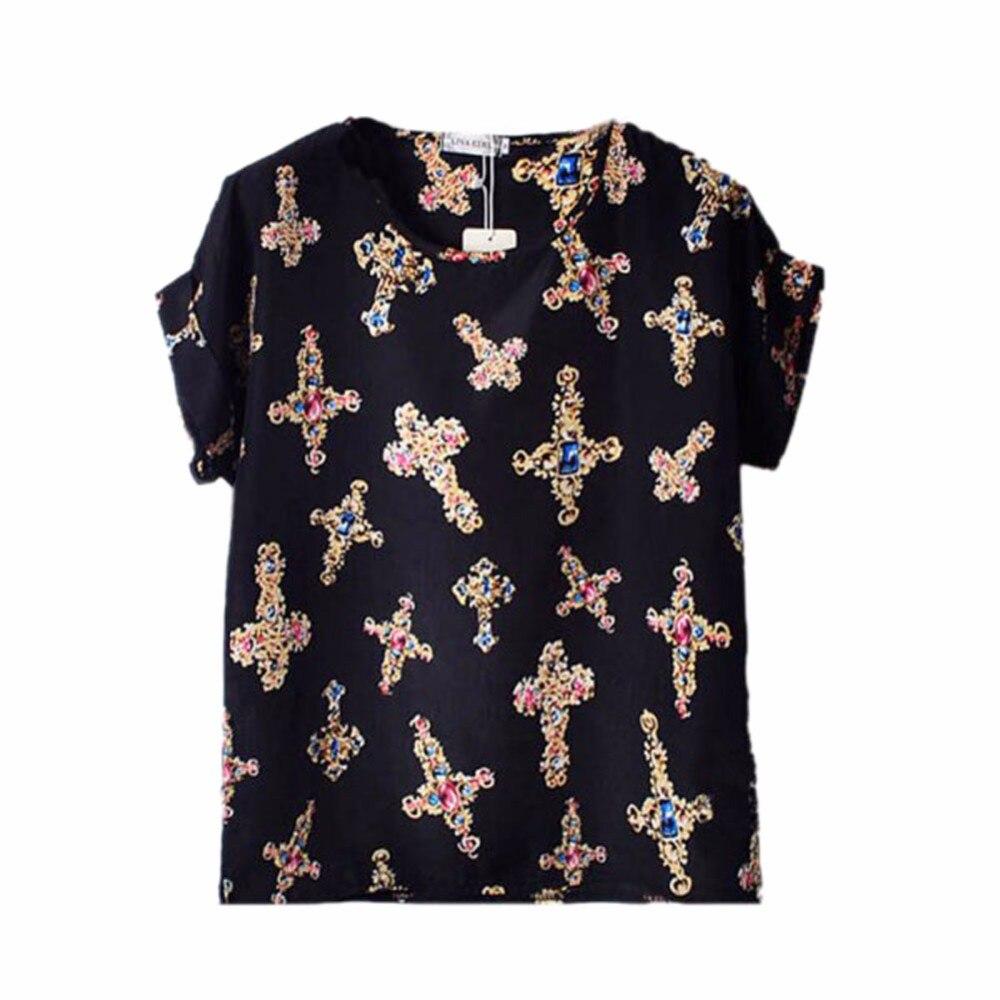 HTB1kiJ7RXXXXXbnXVXXq6xXFXXXp - T-shirts O Neck Bird Printed Women Top Colorful Short Sleeve