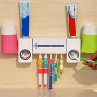 Antibacteria UV Light Ultraviolet Toothbrush Dispenser Sterilizer Bathroom Toothbrush Holder Cleaner With 2 Cups Pro Practical
