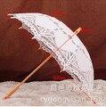 Guarda-chuva do Laço do vintage Bordado Algodão Battenburg Guarda-chuva Do Casamento Do Laço Branco/Marfim Parasol Umbrella Decoração Frete Grátis