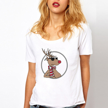 SexeMara Fashion Harajuku Design Animals Printed t shirt Cute Cartoon Deer Printing O Neck T-Shirts Women Summer Casual Tops
