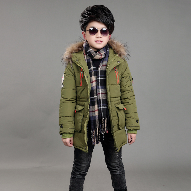 boys winter jacket 5-15 years old kids long down coats Hooded fur collar thick warm big pocket Zipper stars chidlren's parka stand collar color block rib splicing zipper pocket long sleeve men s zip up jacket