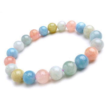 9mm 10mm Fashion Jewelry Stretch Bracelets For Women Genuine Colorful Natural Morganite Stone Round Beads Charm Bracelet Femme
