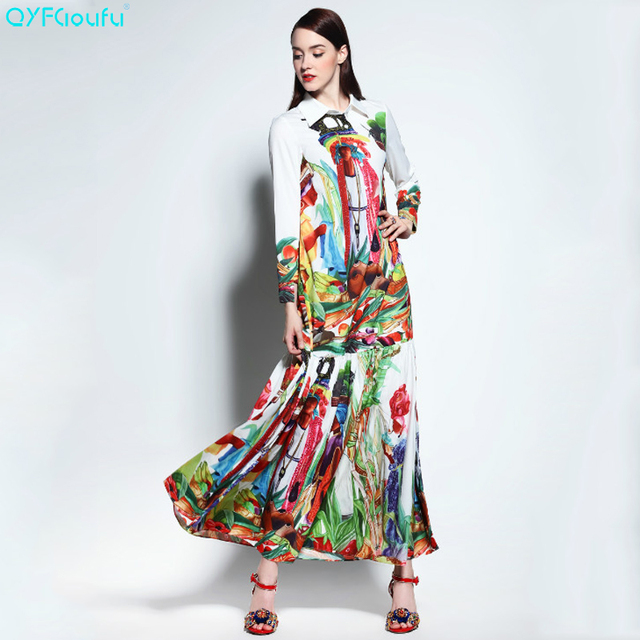 eb102ad3c23 QYFCIOUFU 2018 Summer Runway Pleated Maxi Dress Womens Long Sleeves High  Quality Fashion Fruit Printed Bohemian