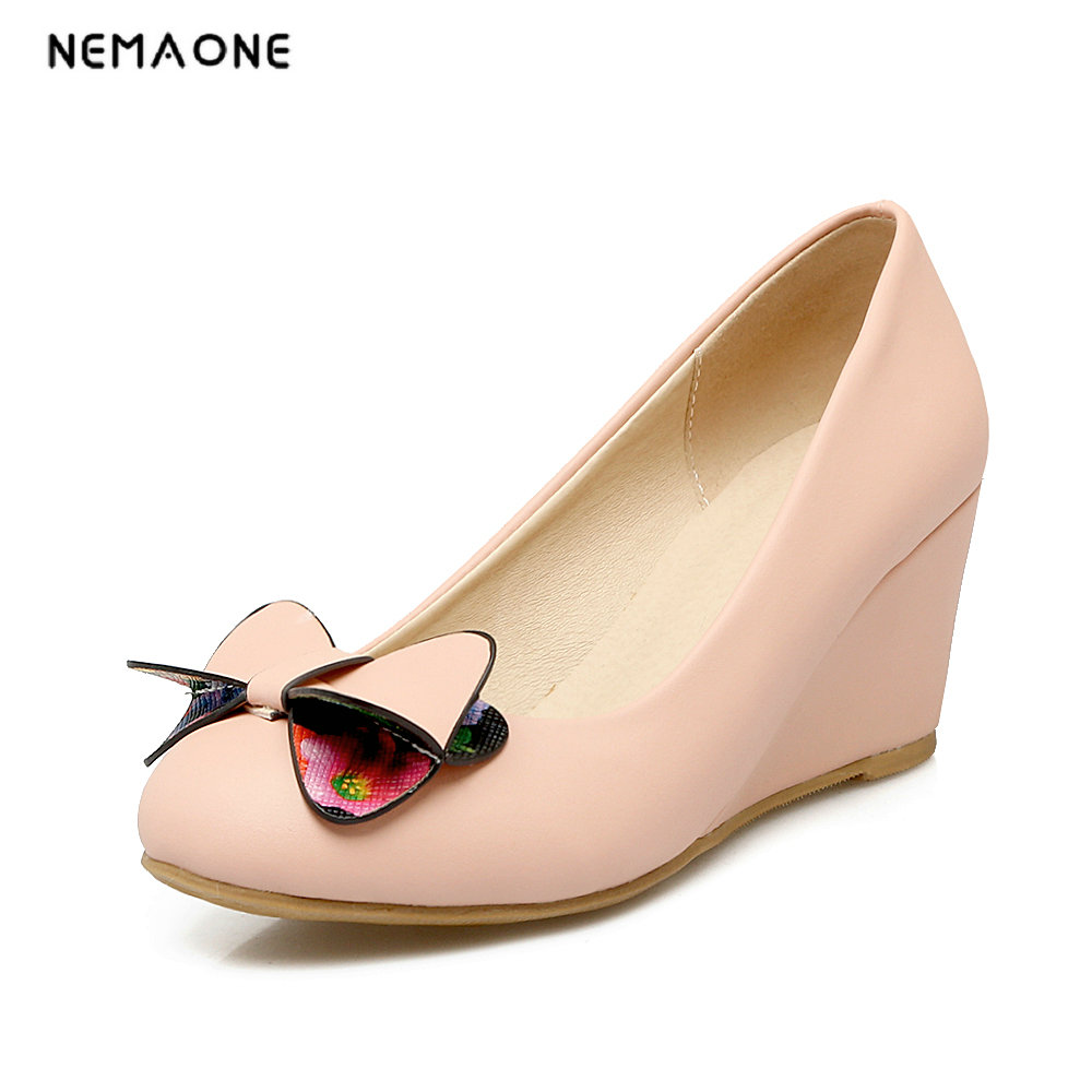 NEMAONE Women Pumps Elegant Sweet Style Slip on wedges Heels round Toe high  Heels Handmade Women Pumps Shoes 2017 shoes women med heels tassel slip on women pumps solid round toe high quality loafers preppy style lady casual shoes 17