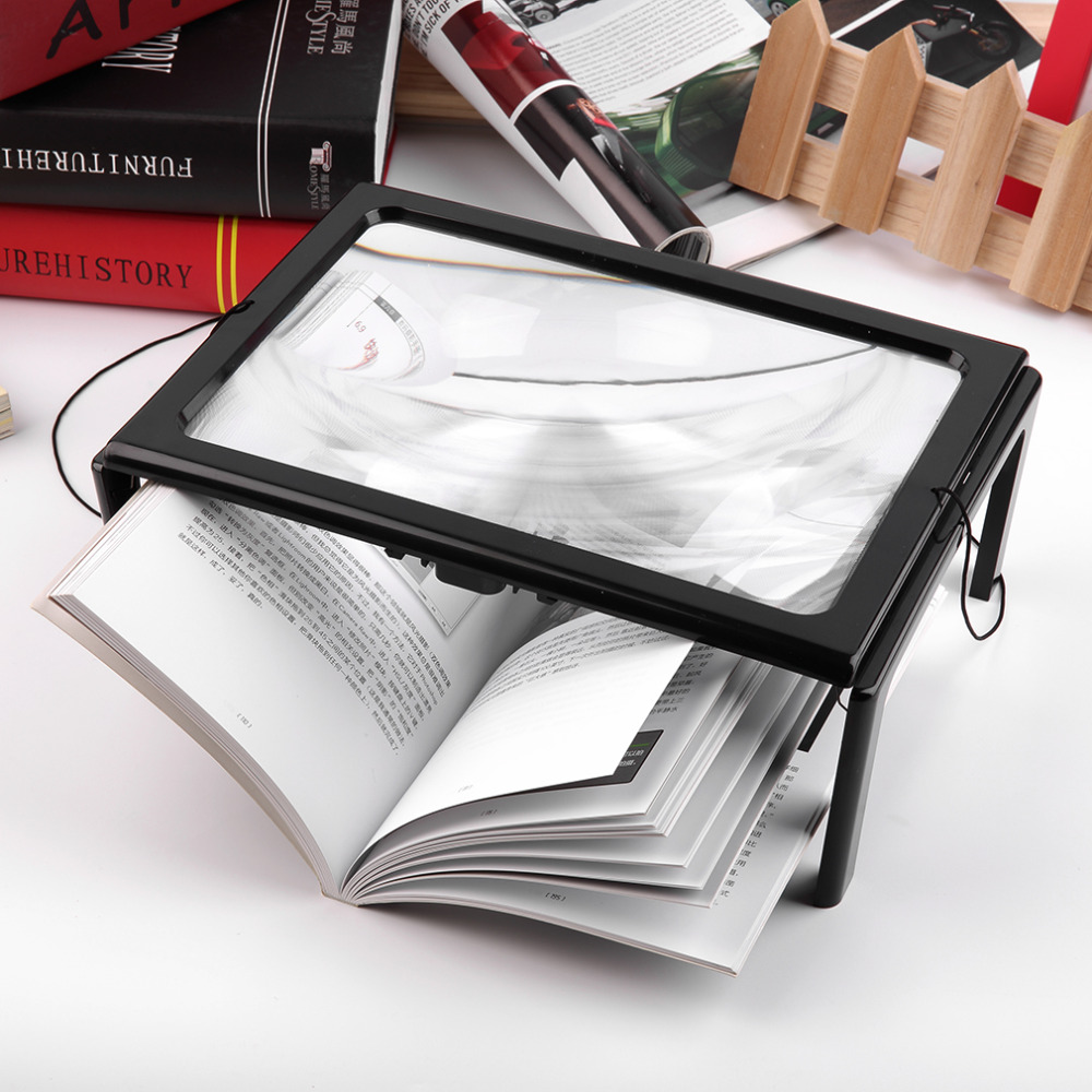 A4 Full Page Large 3X Giant Hands Free Desk Foldable Magnifying Glass Magnifier for Reading Sewing Knitting With 4 LED Light