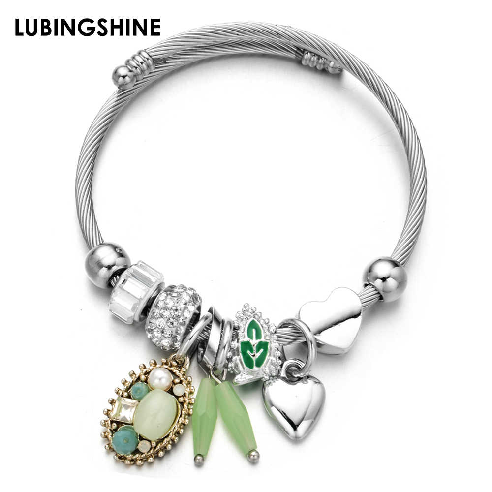 Fashion Love Heart Charms Stainless Steel Bracelets Bangles Crystal Disco Ball Pendant Adjustable Bracelet Jewelry for Women