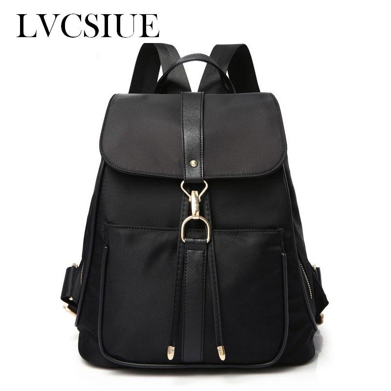 ФОТО Oxford Cloth Women Backpack Black Causal Rucksack PU Leather High Quality Female bag Hasp mochila mujer Knapsack for Girls E011