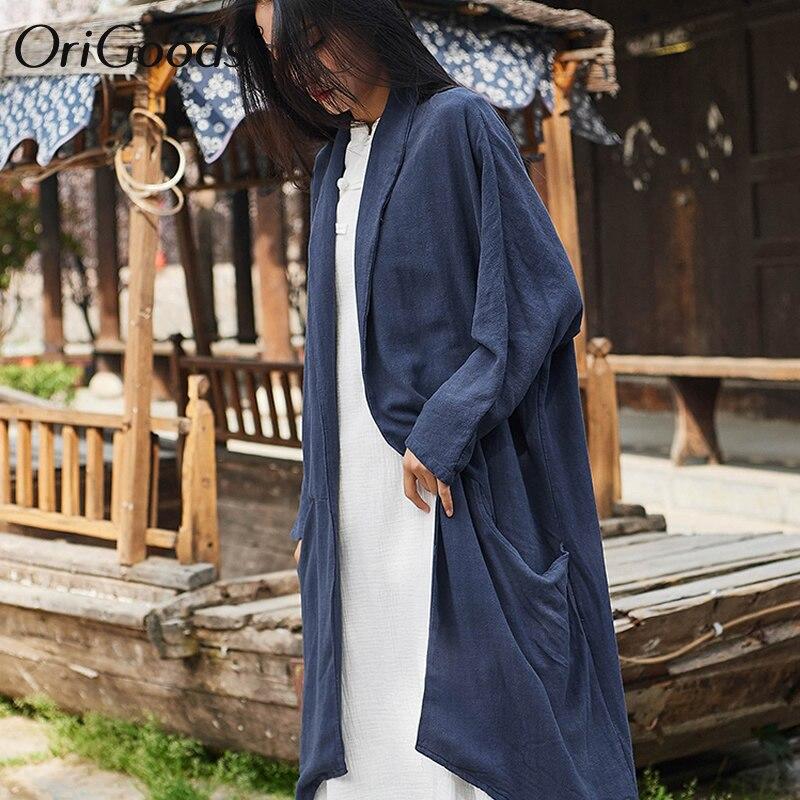OriGoods Vintage Long Kimono chemise femmes lin grande taille à manches longues chemise Kimono style chemisier pour femmes été longs hauts B263 - 3