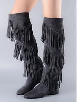 Новое поступление 2017 года ботинки осень зима женский, черный темно серый сапоги до колена три слоя сапоги с бахромой модные обувь на Плоском
