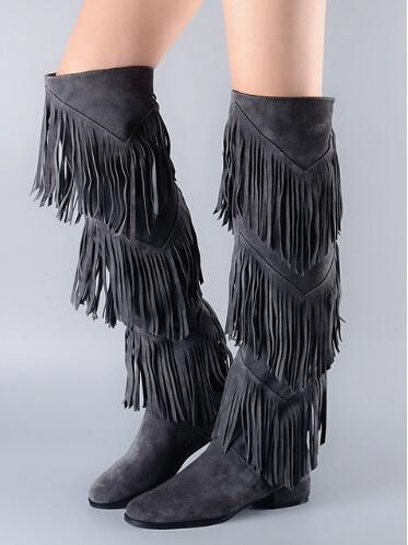 2017 New Arrival Autumn Winter Boots Women Black Dark Gray Knee High Boots Three Layers Fringe Boots Fashion Flat Heels Shoes