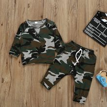 2pcs Children boys Clothing Sets Kids Clothes Baby Boy Long Sleeve T shirt Tops +Camouflage Pants Outfits Autumn Toddler Clothes(China)