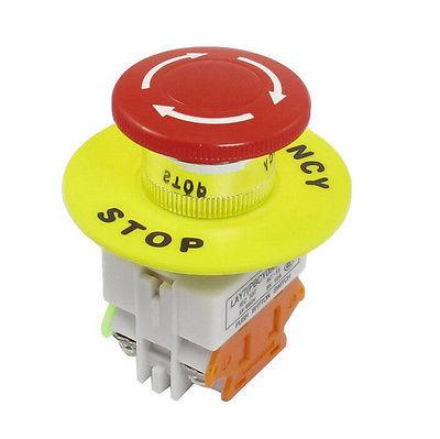 Red Mushroom Cap 1NO 1NC DPST Emergency Stop Push Button Switch AC 660V 10A Switch Equipment Lift Elevator Latching Self Lock
