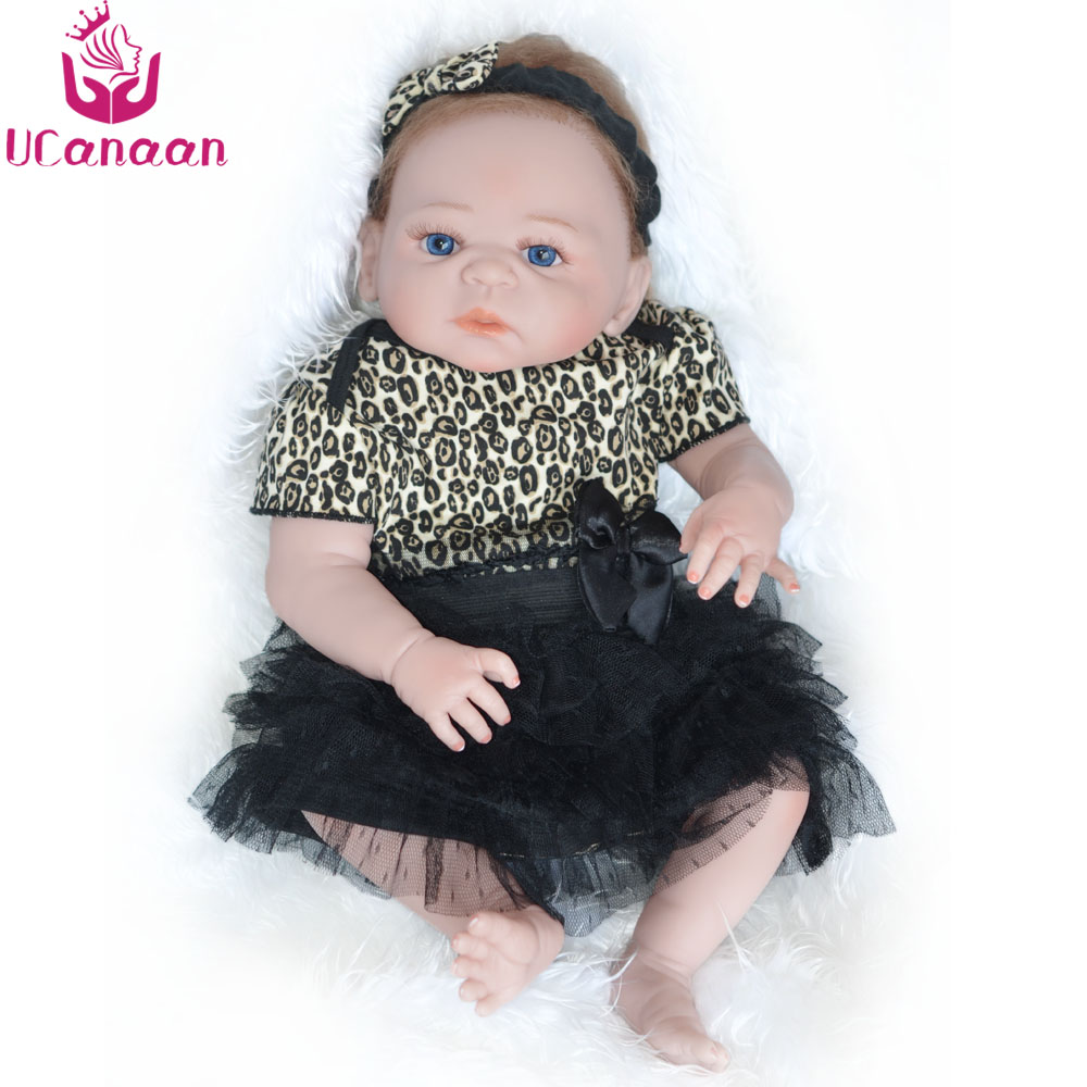UCanaan 22'' Vinyl Silicone Reborn Doll 55 cm Handmade Reborn Toys For Girls Fashion Realistic Babies Birthday Gift Girls Dolls new fashion design reborn toddler doll rooted hair soft silicone vinyl real gentle touch 28inches fashion gift for birthday