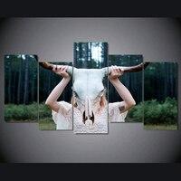 فريشيب 5 لوحة الجمجمة الماشية فتاة قماش مؤطرة جدار الفن صورة غرفة المعيشة ديكور المنزل قماش صورة الفني g36