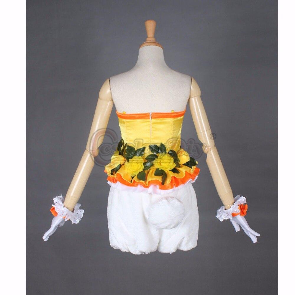 Cosplaydiy Jaune Lapin Adulte Femme Halloween Carnaval Cosplay top shorts Chapeau Fait Sur Commande - 5