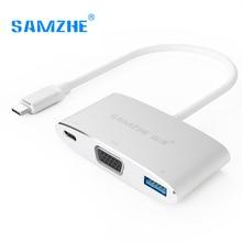 SAMZHE 4 К * 2 К 2160 P Тип C к HDMI многопортовый адаптер, USB C до USB3.0 PD Мощность HDMI конвертер для MacBook и USB c