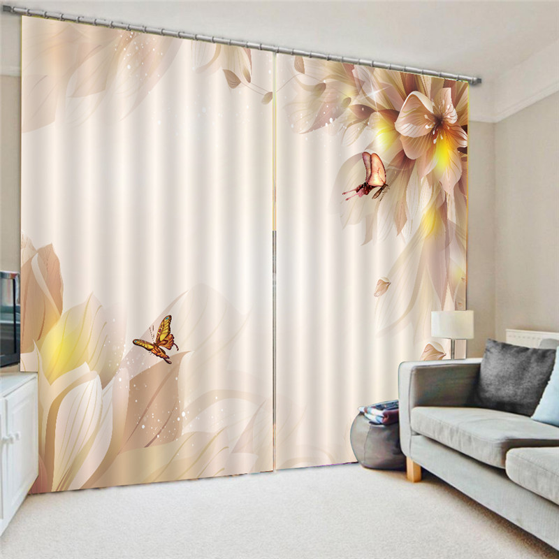 Curtains watercolor butterfly blue pink purple curtain for - Blue and purple bedroom curtains ...