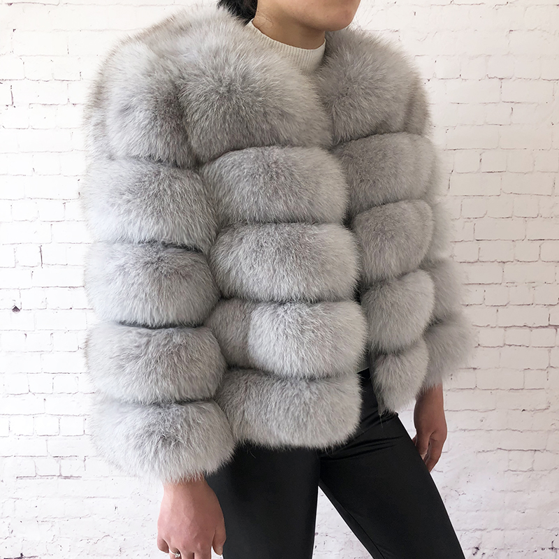 2019 new style real fur coat 100% natural fur jacket female winter warm leather fox fur coat high quality fur vest Free shipping 103