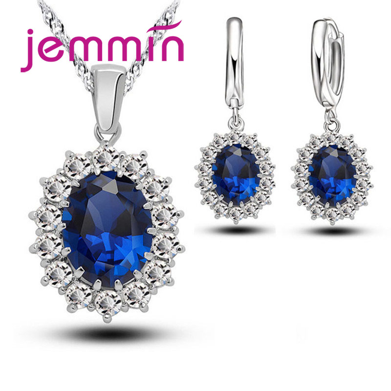 Luxury Female Wedding Bridal Fashion Jewelry Set Hanging Big Blue Drop CZ   Stones For Lady Engagement Jewelry Beauty