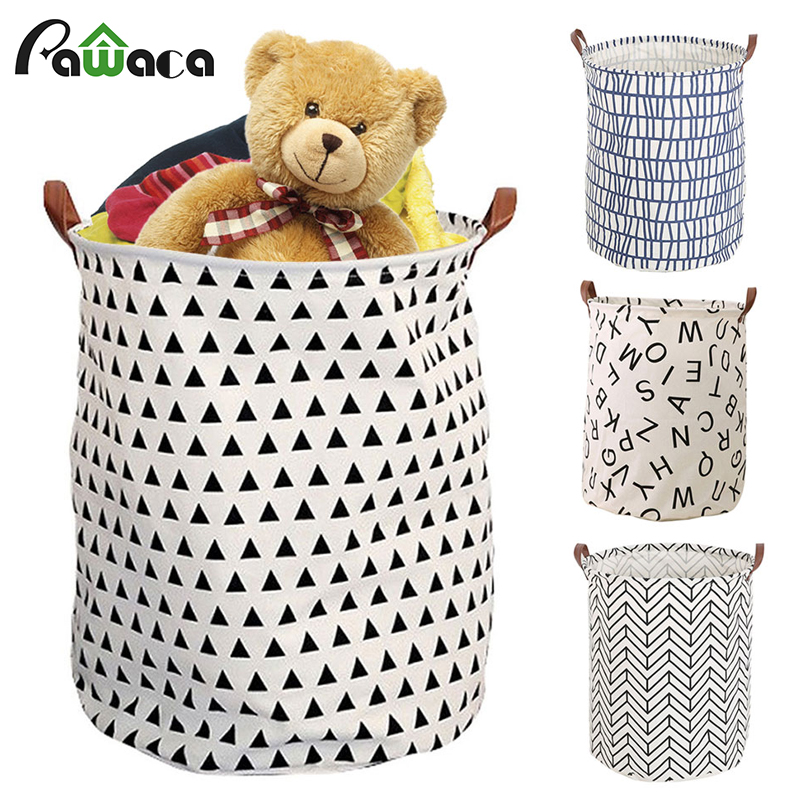 Home Large Size Collapsible Cotton/Canvas Storage Baskets Bins & Toy Organizers for Boys Girls & Laundry Baskets & Baby Clothing ...