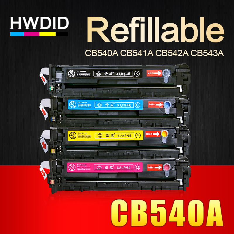 HWDID CB540A CB540 540A 540 CB541A CB542A CB543A 125A Toner Cartridge Compatible for HP LaserJet CP1215 CP1515n CP1518ni CM1312 replacement chip for hp laserjet q7553a print cartridge toner refill compatible with hp2015
